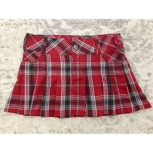 VTG BONGO Red Plaid Pleated School Girl Mini Skirt